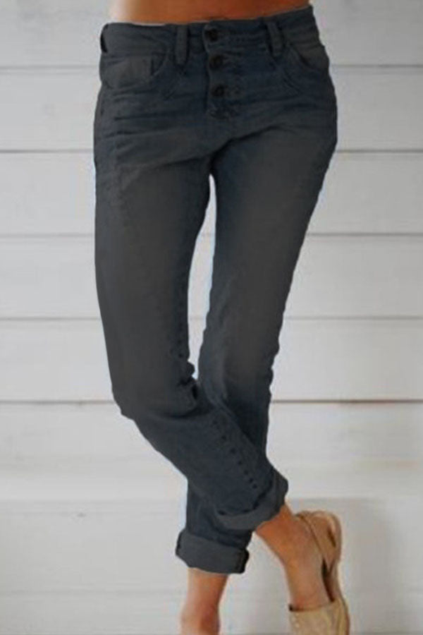 Solid Casual Buttoned Paneled Pockets Jeans