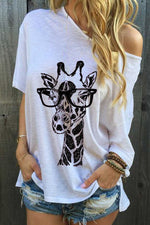 Giraffe Print Crew Neck Half Sleeves Casual T-shirt