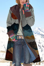 Multicolored Mountain Desert Sun Jacquard Nature Landscape Retro Coat