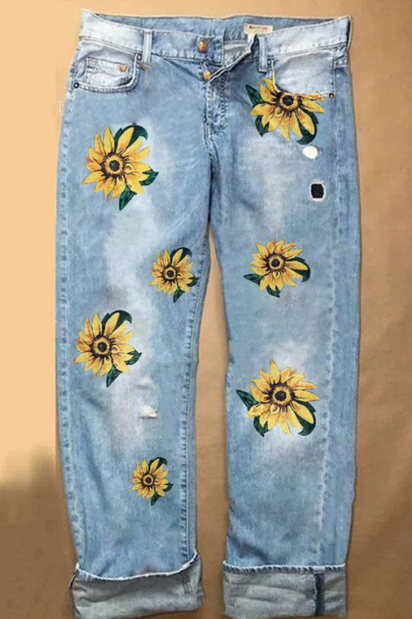 Casual Floral Print Side Pockets Paneled Jeans