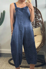 Solid Buttoned Paneled Pockets Vintage Wide Leg Jumpsuit