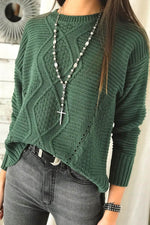 Simple Style Solid Knitted Ribbed Tweed Cutout Sweater