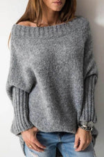 Knitted Solid Batwing Crew Neck Ribbed Holiday Sweater