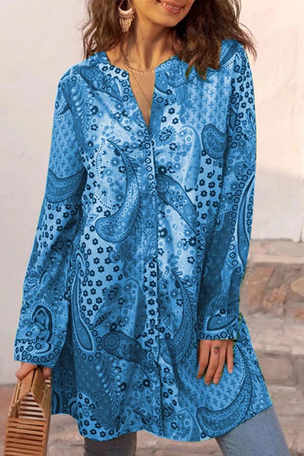 Loose Buttoned Long Sleeves Print Shift Blouses