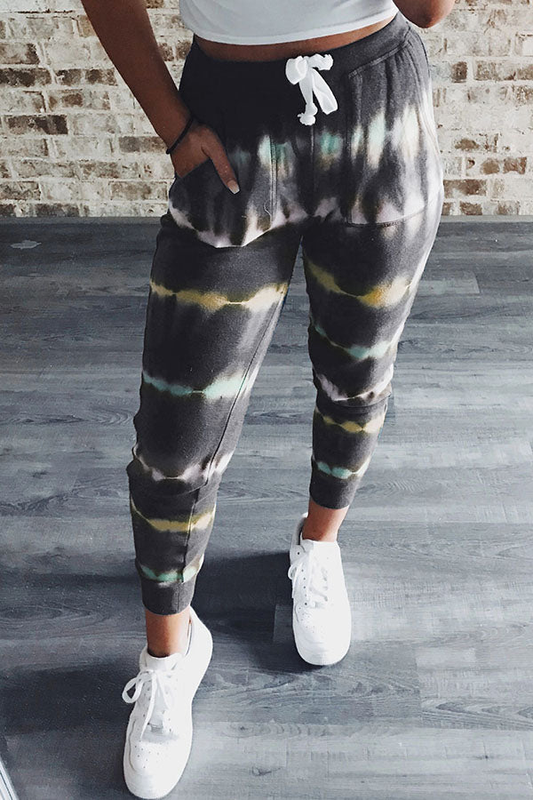 Gradient Striped Print Self-tie Pockets Casual Pants