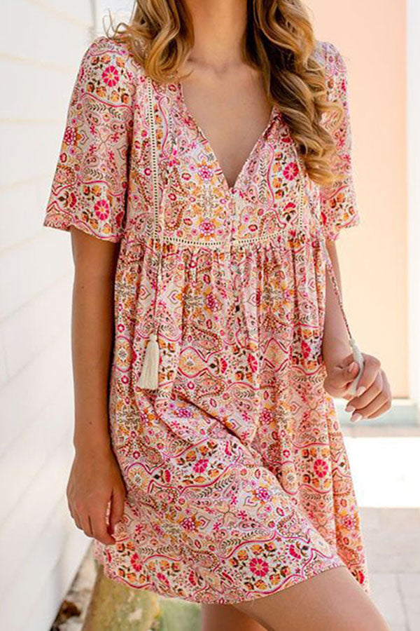 Bohemian Floral Print Paneled Plunging Neck Holiday Mini Dress