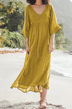 Loose Shift 3/4 Sleeves V Neck Solid Maxi Dress