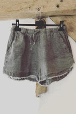 Casual Solid Pockets Drawstring Denim Short Pants