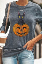 Halloween Black Cat On The Smiling Pumpkin Print Casual T-shirt