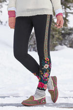 Vintage Floral Embroidery Casual Pants