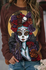 The Day Of The Dead Women Skull Floral Print Vintage Halloween Knitted Sweatshirt