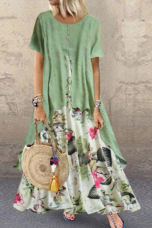 Floral Print Paneled  Buttoned Maxi Dress