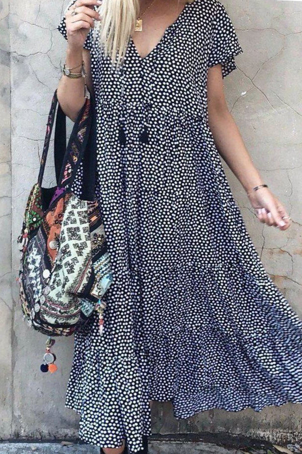 Holiday Floral Print Paneled V-neck Maxi Dress