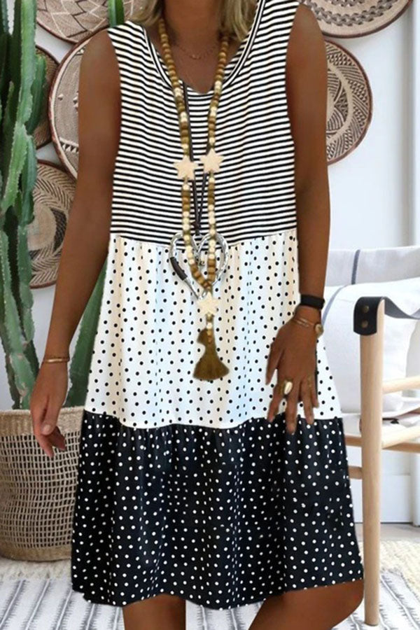Paneled Polka dots Striped Print Color-block Sleeveless Midi Dress