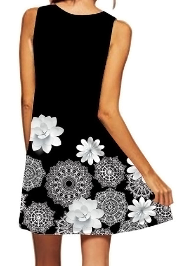 Crew Neck Sleeveless A-line Floral Midi Dress