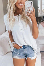 Solid Casual Buttoned Crew Neck Short Sleeve T-shirt