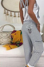 Striped Print Casual Paneled Side Pockets Backless Jumpsuit