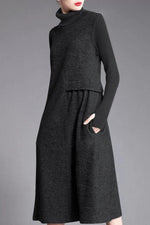 Casual Solid Paneled Pleated Ribbed Turtleneck Sweater Dress