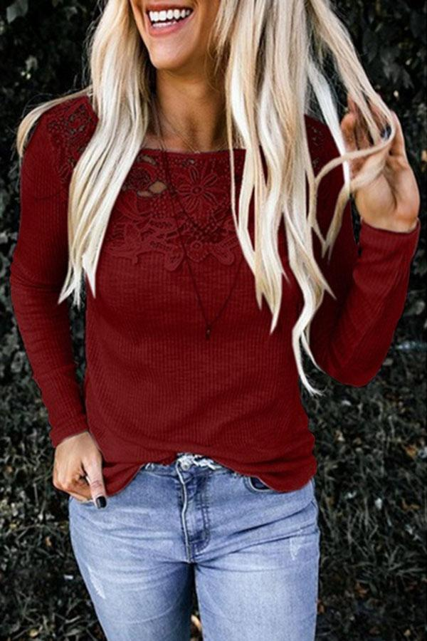 Paneled Floral Lace Cutout Ribbed Casual T-shirts