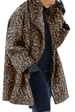 Leopard Print Lapel Collar Holiday Warm Paneled Pockets Coat