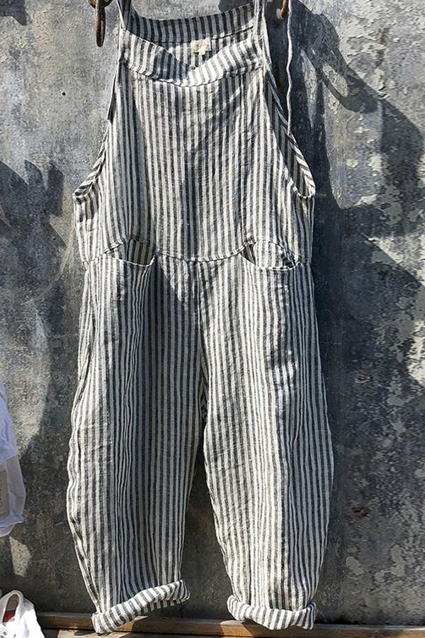 Casual Stripe Pockets Jumpsuits