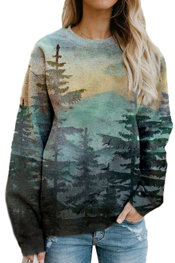 Gradient Landscape Forest Mountain Print Vintage Sweatshirt