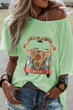 Bus Printed Short Sleeve One Shoulder T-Shirts