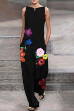 Holiday Floral Print Sleeveless V-neck Wide Leg Jumpsuit