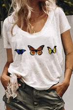 Shift Butterfly Print Loose Short Sleeves T-shirts