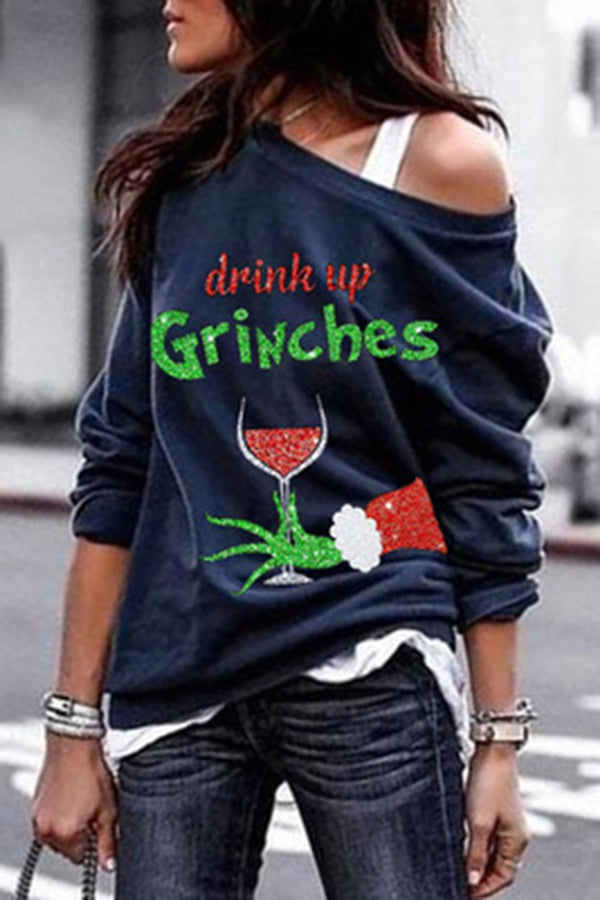 Christmas Geek Red Wine Glass Drink Up Grinches Print Holiday T-shirt