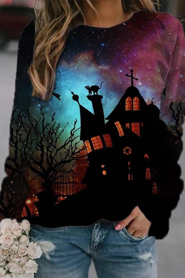 Gradient Galaxy Ancient Castle Cat Print Halloween Party Sweatshirt