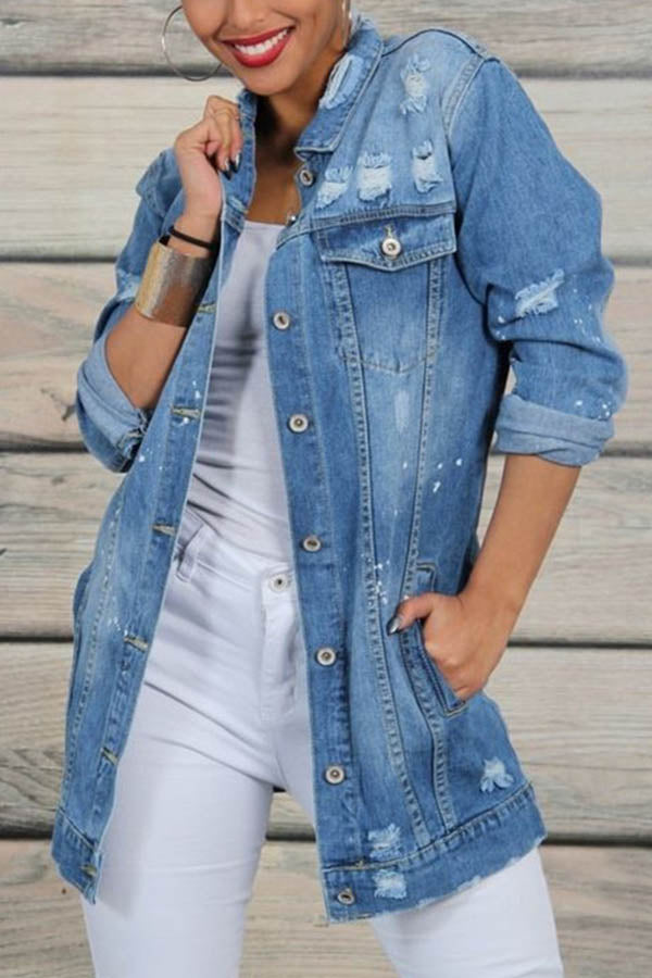 Denim Solid Paneled Buttons Down Pockets Cutout Coat