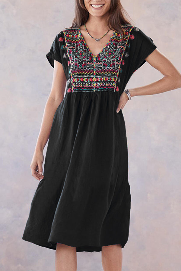 Vintage Casual V Neck Short Sleeves Midi Dress