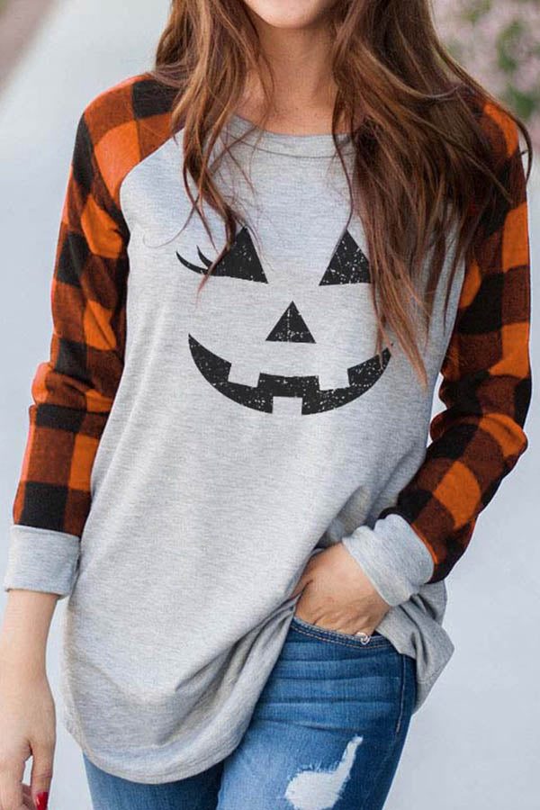 Color-block Plaid Print Halloween Smile Face Print Holiday T-shirt