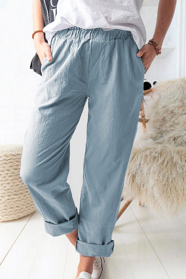 Solid Casual Paneled Elastic Side Pockets Pants