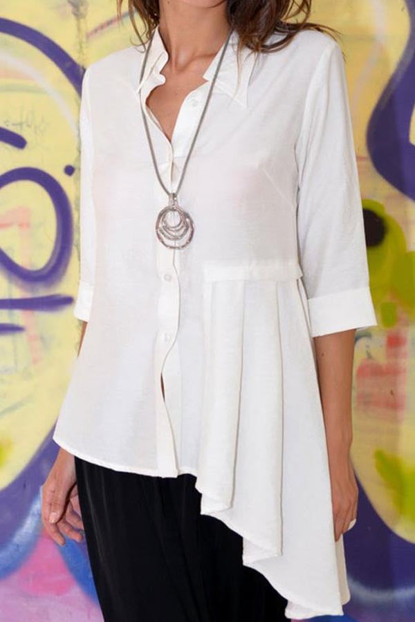 Solid Casual Paneled Buttons Down Irregular Hem Blouse