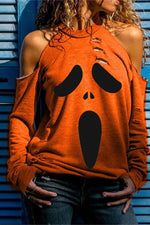 Fashion Halloween Ghost Face Pumpkin Print Cutout Halter Neck T-shirt