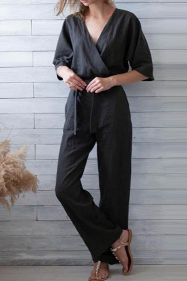 Solid Cross Front V-neck Self-tie Paneled Side Pockets Casual Jumpsuit