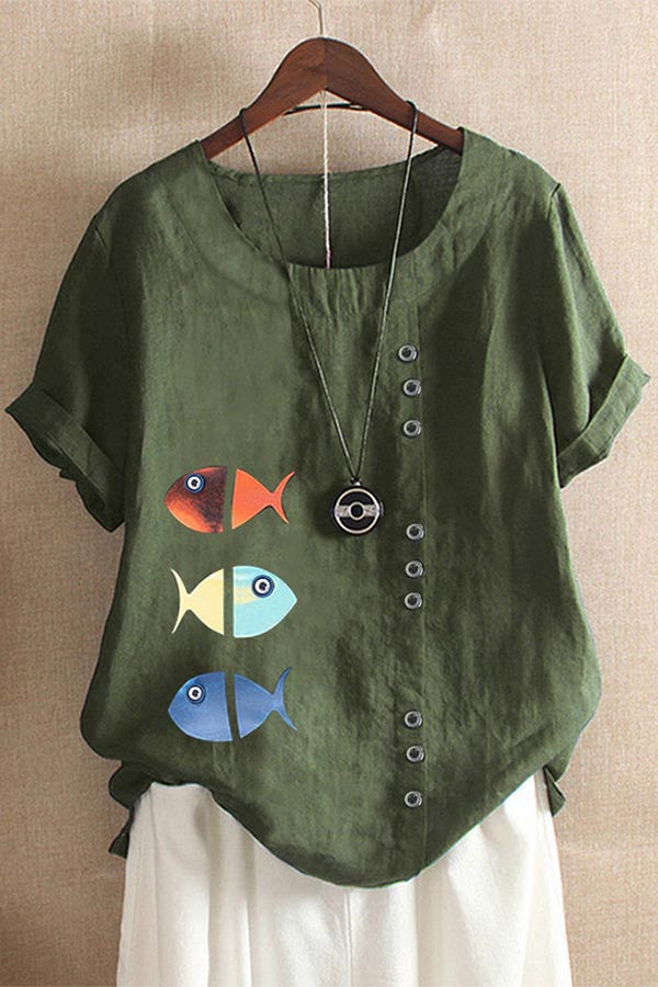 Fish Print Paneled Buttons Down Casual Blouse