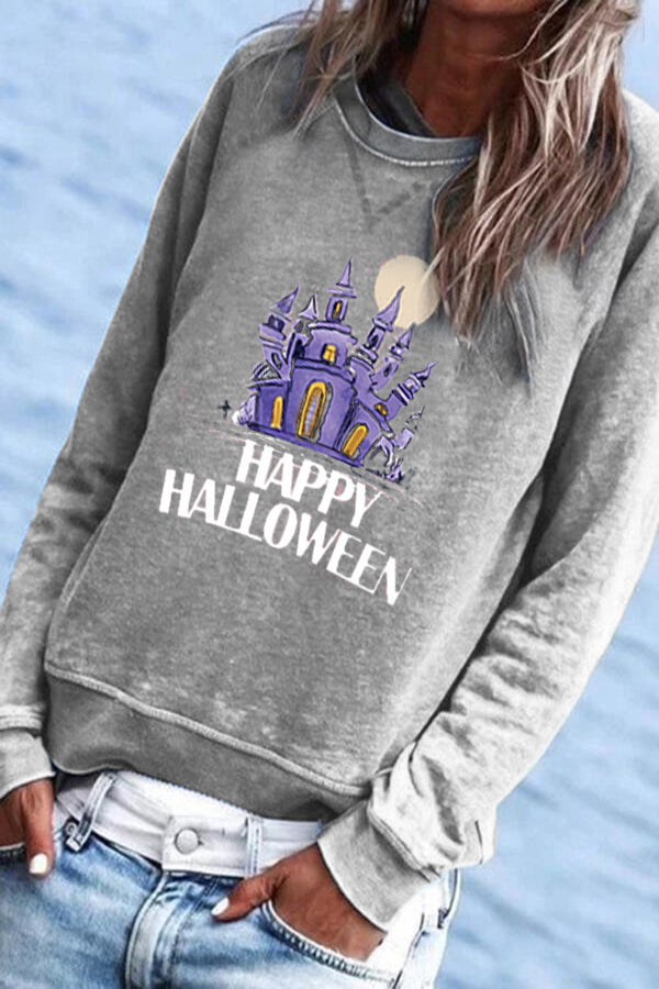 Happy Halloween Castle Moon Print Paneled Sweatshirt