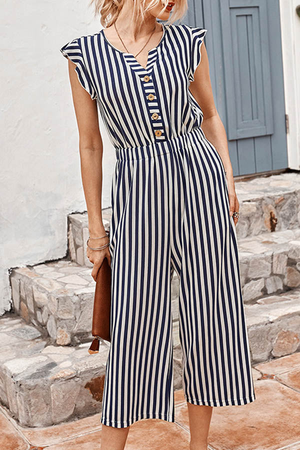 Casual Striped Print Buttoned V-neck Wide Leg Jumpsuit