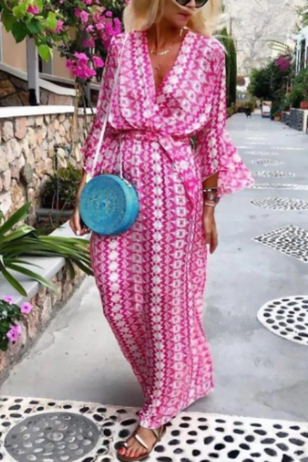 Bohemian Print Self-tie Plunging Neck Holiday Maxi Dress