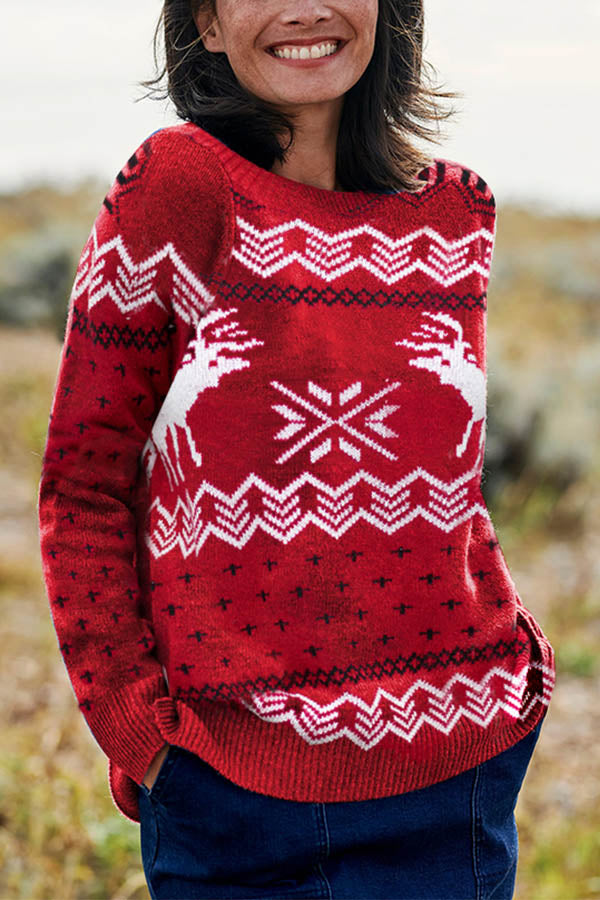 Christmas Elk Striped Geometric Jacquard Knitted Ribbed Holiday Sweater