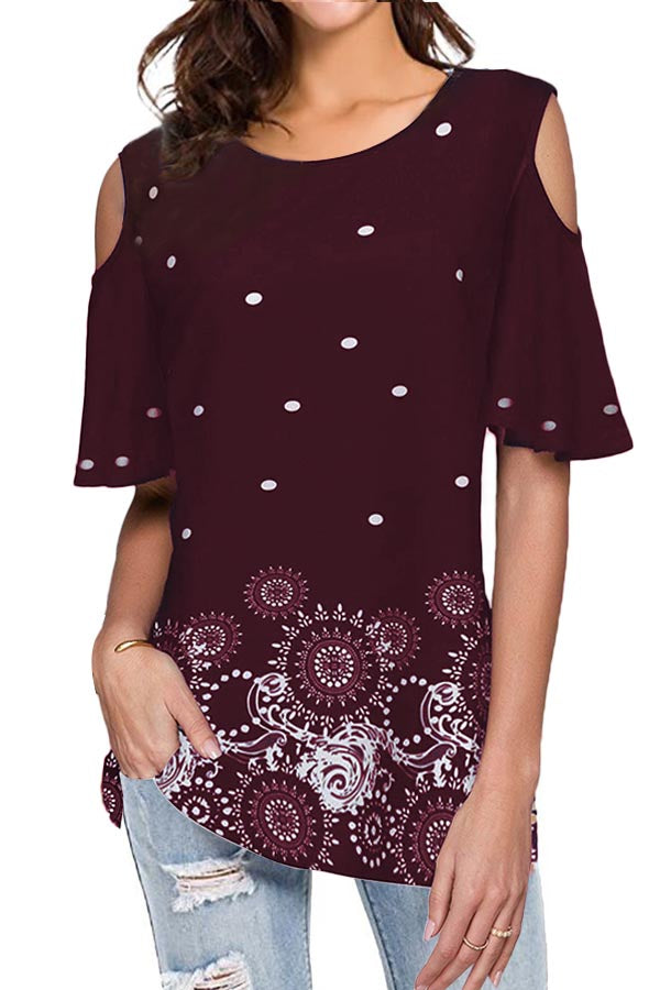 Geometric Print Cold Shoulder Casual Blouse