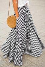 Plaid Print Side Pockets A-line Maxi Skirts