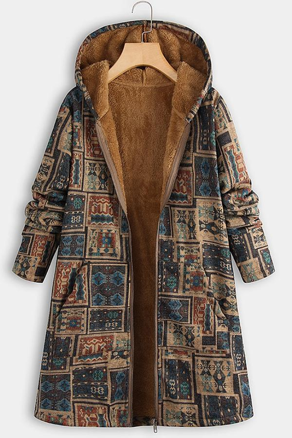 Tribal Print Side Pockets Zipper Hooded Coat