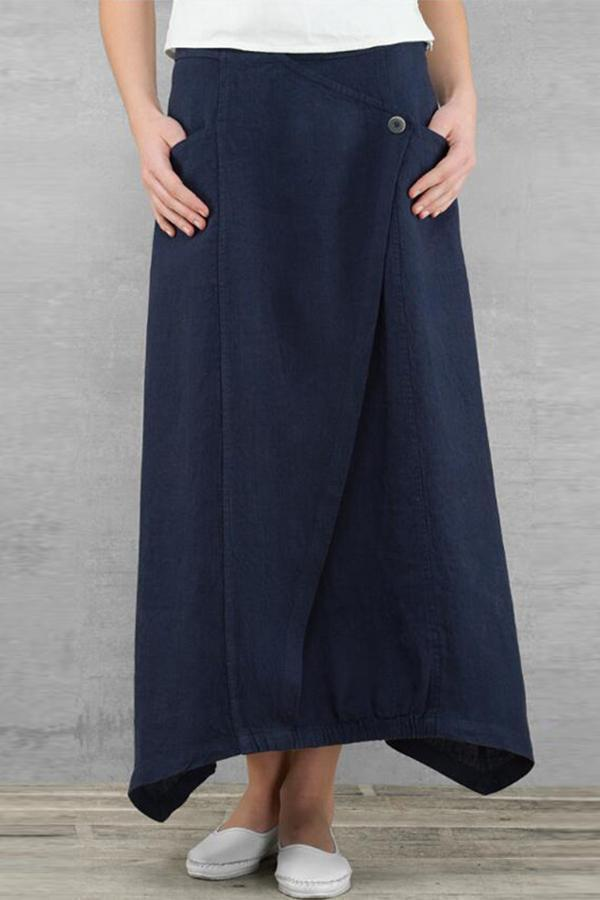 Solid Casual Side Pockets Maxi Skirts