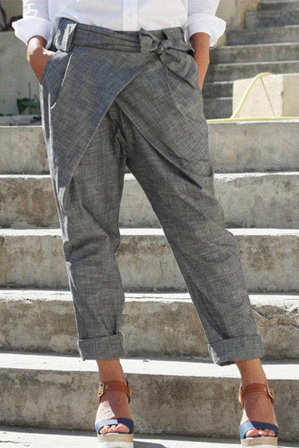 Casual Bow Self-tied Pockets Harem Pants