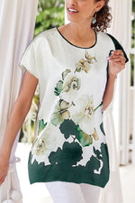 Casual Floral Print Short Sleeves Crew Neck Blouse