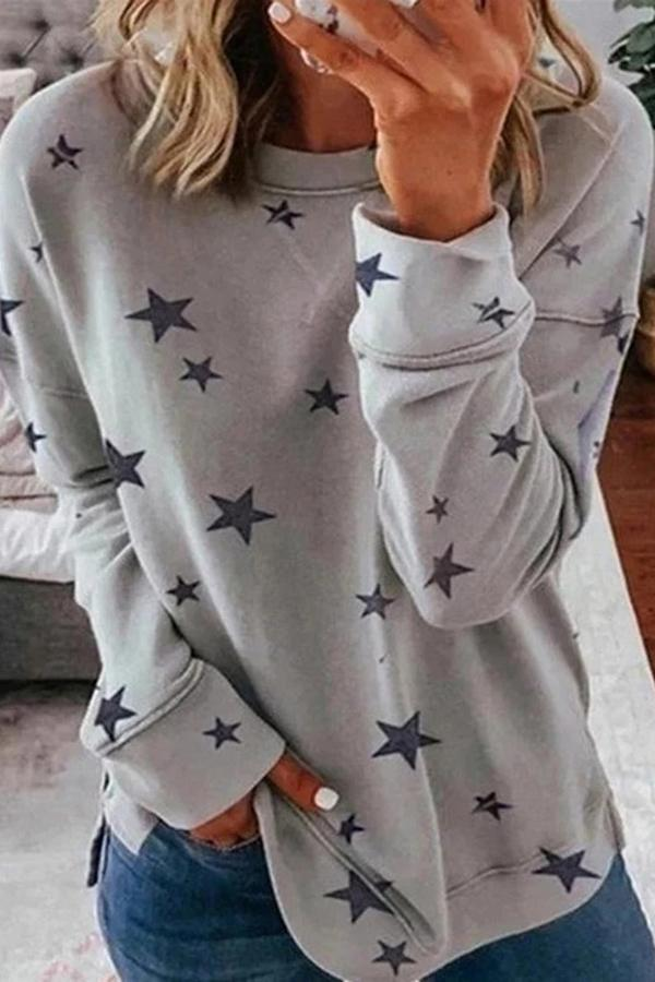Paneled Star Print Crew Neck Casual T-shirts